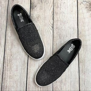 Brash Glittery Black Slip On Loafers Shoes